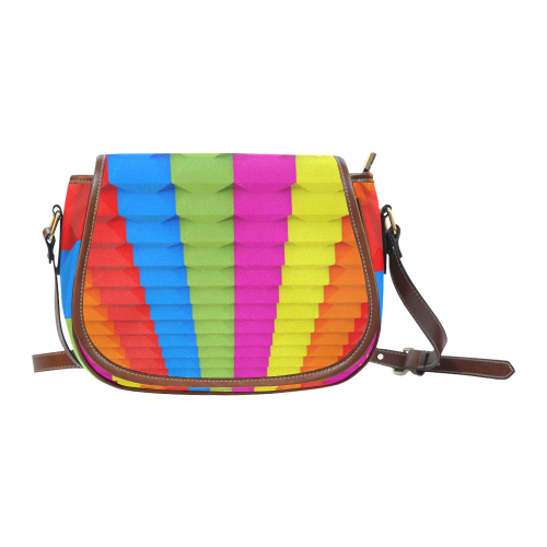 Abstract Geometric 3d Colorful Blocks Saddle Bag/Small (Model 1649) Full Customization