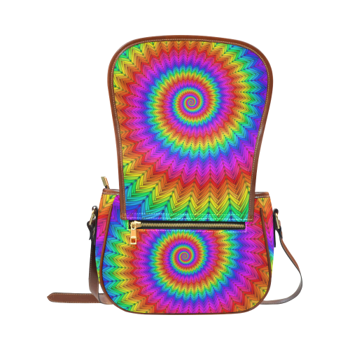 Psychedelic Rainbow Spiral Saddle Bag/Small (Model 1649) Full Customization