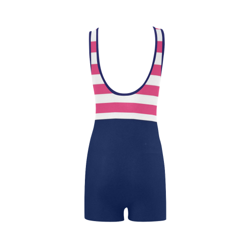 pink white and blue stripes Classic One Piece Swimwear (Model S03)