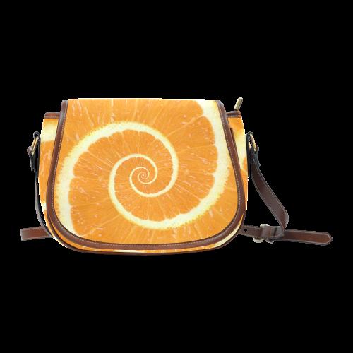 Citrus Orange Spiral Droste Saddle Bag/Large (Model 1649)