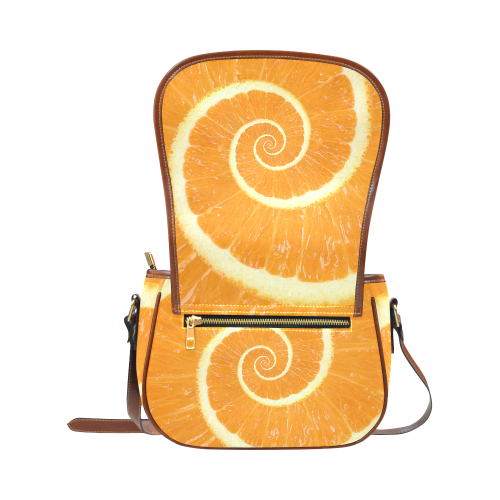 Citrus Orange Spiral Droste Saddle Bag/Small (Model 1649) Full Customization