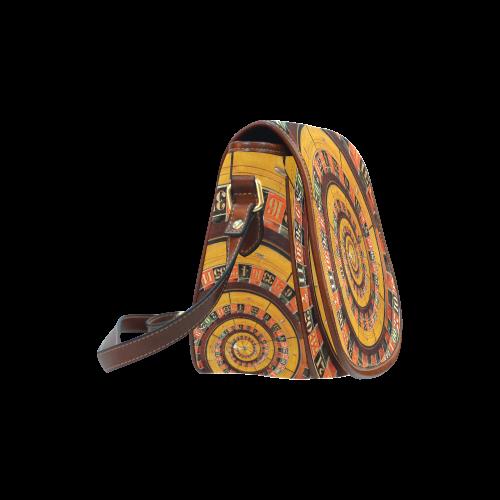 Casino Roullette Wheel Spiral Droste Saddle Bag/Small (Model 1649) Full Customization