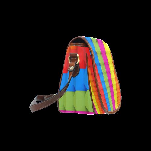 Abstract Geometric 3d Colorful Blocks Saddle Bag/Small (Model 1649) Full Customization