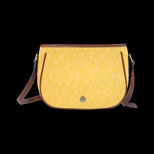 doodle leaf pattern sunny yellow white Saddle Bag/Large (Model 1649)