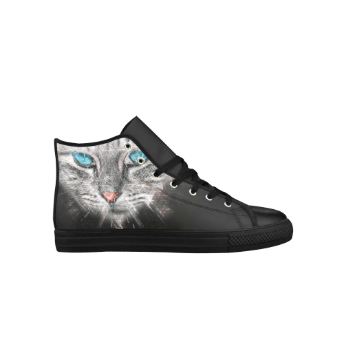Silver Abstract Cat Face with blue Eyes Aquila High Top Microfiber Leather Women's Shoes (Model 027)