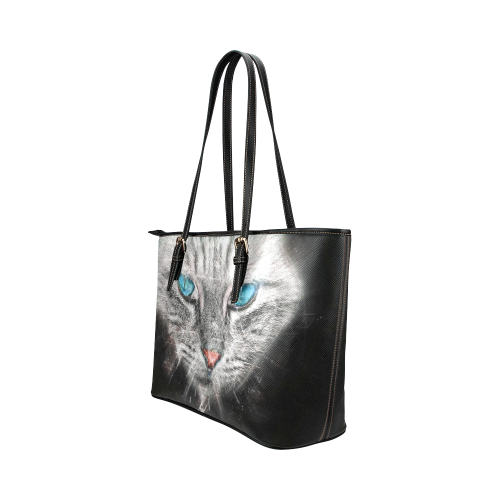 Silver Abstract Cat Face with blue Eyes Leather Tote Bag/Large (Model 1651)