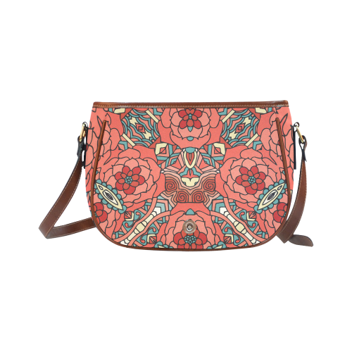 Mariager, Pale Red Rose flowers Saddle Bag/Large (Model 1649)