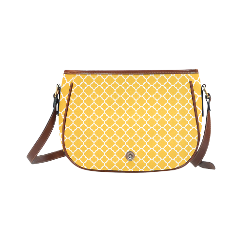 sunny yellow white quatrefoil classic pattern Saddle Bag/Large (Model 1649)