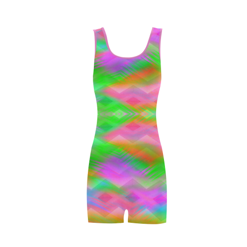 pink and green abstract Classic One Piece Swimwear (Model S03)