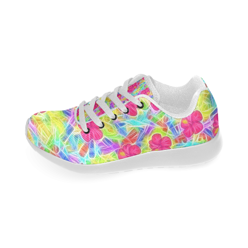 Pretty Pink Hawaiian Flowers Pattern Women s Running Shoes (Model 020)  3bf1ed557b