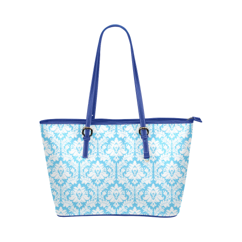 Damask Pattern Bright Blue And White Leather Tote Bag Large Model 1651