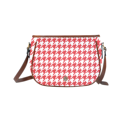 red and white houndstooth classic pattern Saddle Bag/Large (Model 1649)
