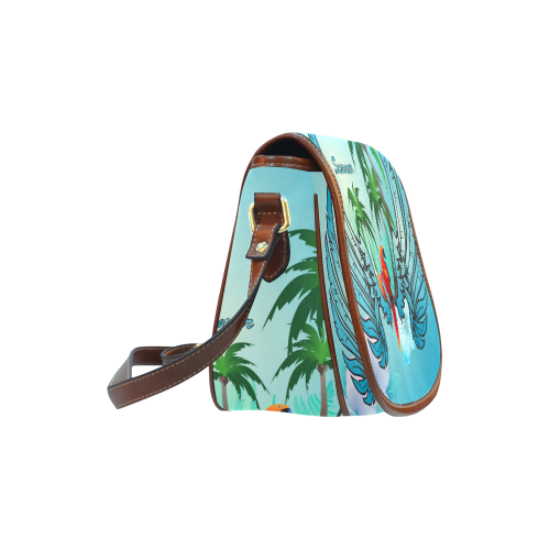 Summer, cute parrot Saddle Bag/Small (Model 1649) Full Customization