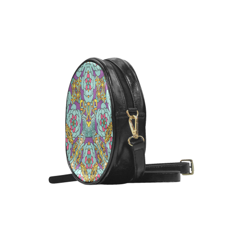 Mariager-bold flowers,blue,purple,yellow floral Round Sling Bag (Model 1647)