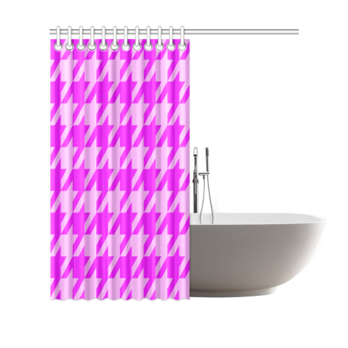 """houndstooth 2 pink Shower Curtain 69""""x70"""""""
