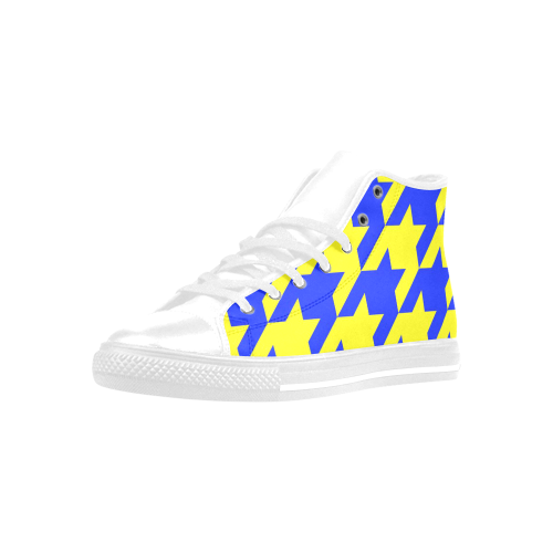 houndstooth 2 blue Aquila High Top Microfiber Leather Women's Shoes (Model 027)