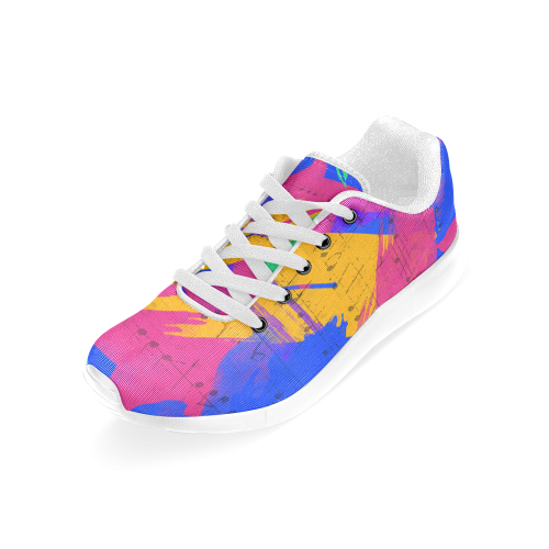Groovy Paint Brush Strokes with Music Notes Women's Running Shoes (Model 020)