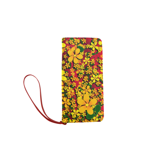 Pretty Orange & Yellow Flowers on Red Women's Clutch Wallet (Model 1637)