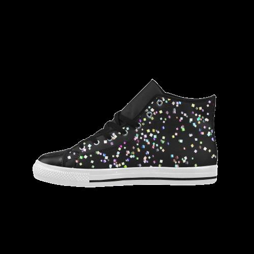 funny allover squares confetti Aquila High Top Microfiber Leather Men's Shoes (Model 027)