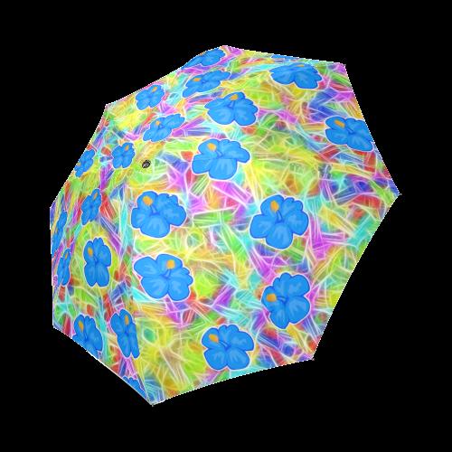 Pretty Blue Hawaiian Flowers Pattern Foldable Umbrella (Model U01)