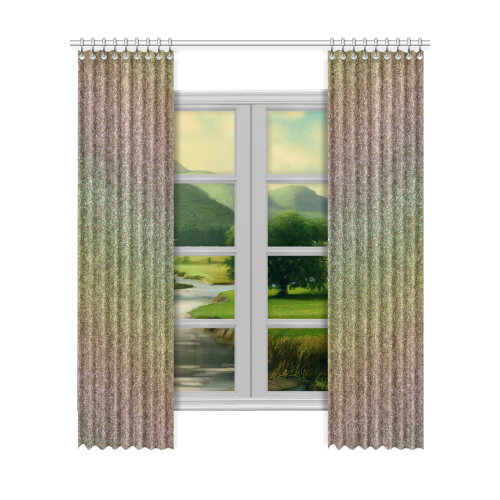 "Rainbow Gold Pastel Gradient Window Curtain 52""x120""(Two Piece)"