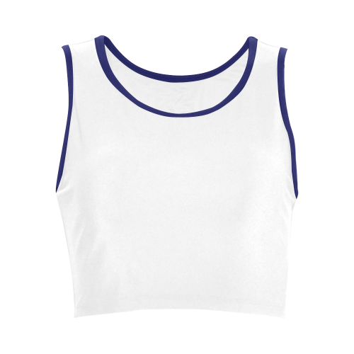 white and blue Women's Crop Top (Model T42)