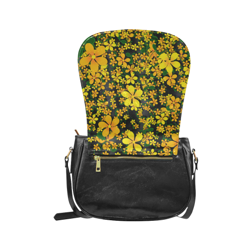 Pretty Orange & Yellow Flowers on Black Classic Saddle Bag/Large (Model 1648)