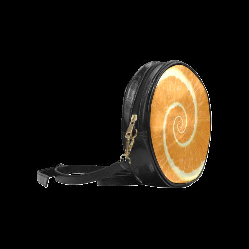 Citrus Orange Spiral Droste Round Sling Bag (Model 1647)