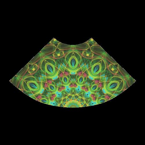 green peacock feathers mandala Atalanta Sundress (Model D04)