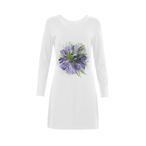 Purple Flowers Demeter Long Sleeve Nightdress (Model D03)