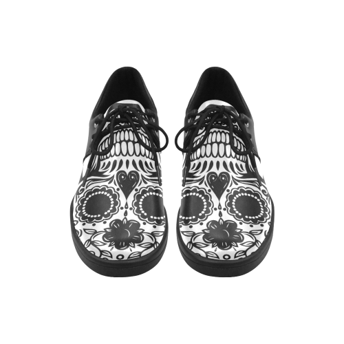 Skull Flowers Brogue Lace Up Men's shoes (Model 024)