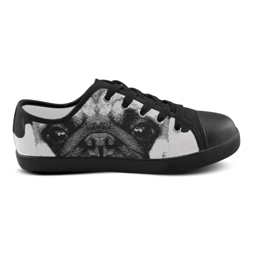 Dog Puppy black Canvas Kid's Shoes (Model 016)