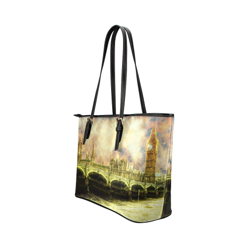 Abstract Golden Westminster Bridge in London Leather Tote Bag/Large (Model 1651)