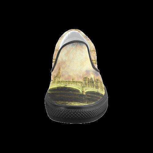 Abstract Golden Westminster Bridge in London Men's Slip-on Canvas Shoes (Model 019)