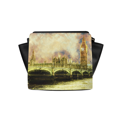Abstract Golden Westminster Bridge in London Satchel Bag (Model 1635)