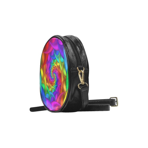 Psychedelic Rainbow Spiral Round Sling Bag (Model 1647)
