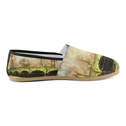 Abstract Golden Westminster Bridge in London Unisex Casual Shoes (Model 004)