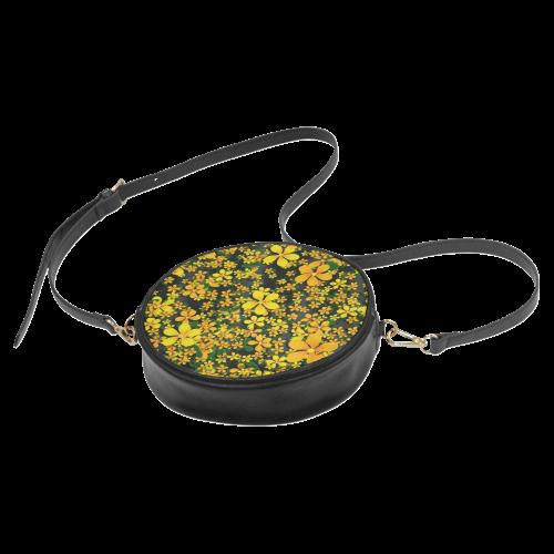 Pretty Orange & Yellow Flowers on Black Round Sling Bag (Model 1647)