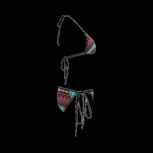 K172 Wood and Turquoise Abstract Custom Bikini Swimsuit