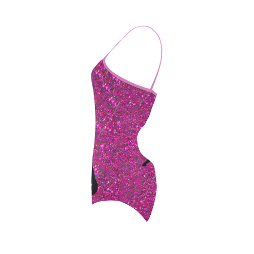unicorn on pink glitter Strap Swimsuit ( Model S05)