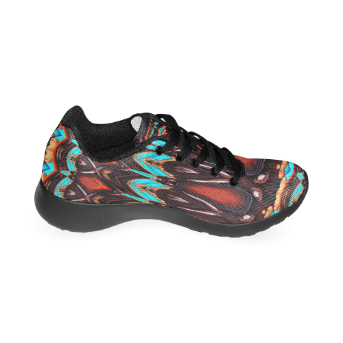 K172 Wood and Turquoise Abstract Men's Running Shoes (Model 020)