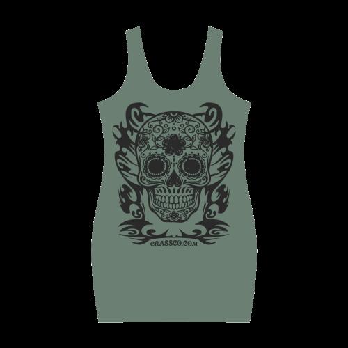 Skull Flowers Tarn Millitär Medea Vest Dress (Model D06)