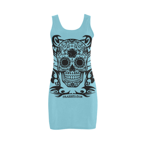Skull Flowers Blue Medea Vest Dress (Model D06)