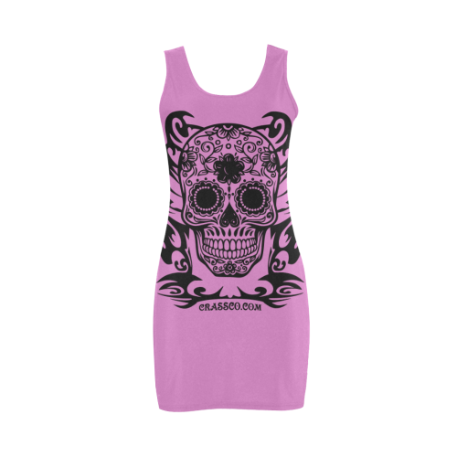 Skull Flowers Pink Medea Vest Dress (Model D06)