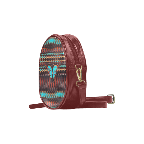 K172 Wood and Turquoise Abstract Pattern Round Sling Bag (Model 1647)