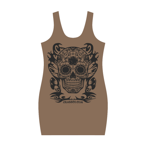 Skull Flowers Brown Medea Vest Dress (Model D06)