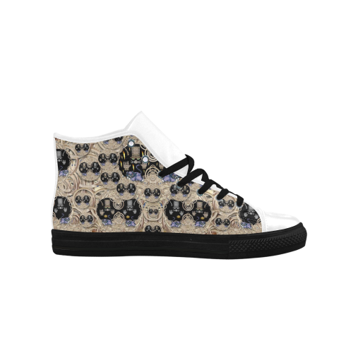 big cats and kittens in the night Aquila High Top Microfiber Leather Women's Shoes (Model 027)