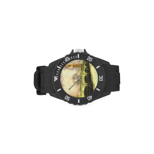 Abstract Golden Westminster Bridge in London Sport Rubber Strap Watch(Model 301)