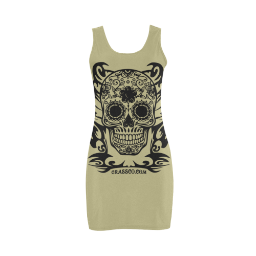 Skull Flowers Khaki Medea Vest Dress (Model D06)