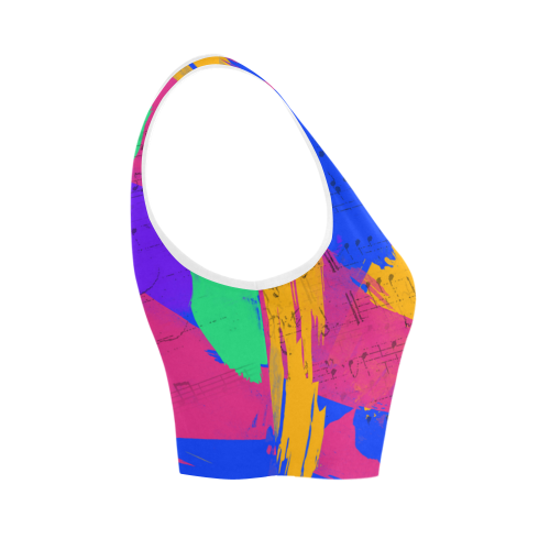 Groovy Paint Brush Strokes with Music Notes Women's Crop Top (Model T42)